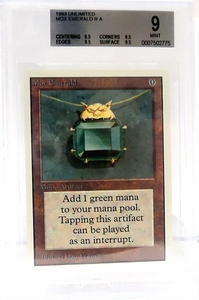 Magic the Gathering Unlimited Edition Single Card Rare Mox Emerald BGS Graded 9