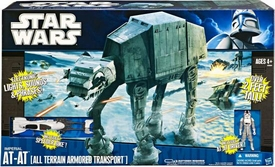 Star Wars 2010 Super Deluxe Lights, Sounds & Phrases Vehicle Imperial AT-AT [Includes AT-AT Driver Action Figure & Speeder Bike!]
