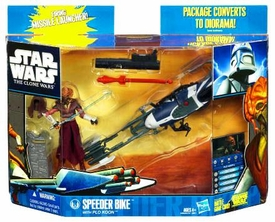 Star Wars 2010 Clone Wars Vehicle & Action Figure Pack Speeder Bike with Plo Koon