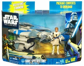 Star Wars 2010 Clone Wars Vehicle & Action Figure Pack Speeder Bike with Obi Wan