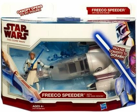 Star Wars 2010 Clone Wars Vehicle & Action Figure Pack Freeco Speeder with Obi-Wan Kenobi