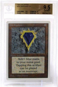 Magic the Gathering Unlimited Edition Single Card Rare Mox Sapphire BGS Graded 9.5