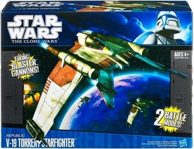 Star Wars 2011 Clone Wars Vehicle V-19 Torrent Starfighter