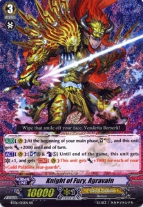 Cardfight Vanguard ENGLISH Breaker of Limits Single Card RR Rare BT06-015EN Knight of Fury, Agravain