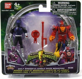 Power Rangers Mighty Morphin Mix & Morph Mini Figure 2-Pack Wolf Ranger & Jungle Pride Megazord