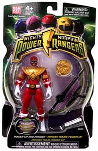 Power Rangers Mighty Morphin 4 Inch Action Figure Power Up Red Ranger [Includes Power Coin!]