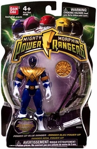 Power Rangers Mighty Morphin 4 Inch Action Figure Power Up Blue Ranger [Includes Power Coin!]
