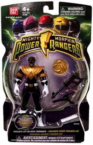 Power Rangers Mighty Morphin 4 Inch Action Figure Power Up Black Ranger [Includes Power Coin!]
