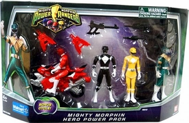 Power Rangers Mighty Morphin Exclusive Action Figure 4-Pack Hero Power Pack [Black, Yellow, Green & Red with Bonus Cycle]