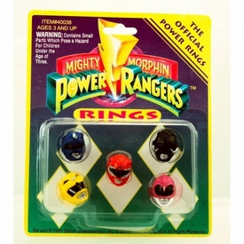Mighty Morphin Power Rangers Rings Set of 5