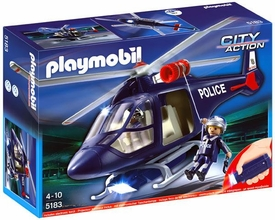 Playmobil City Action Set #5183 Police Helicopter & LED Spotlight