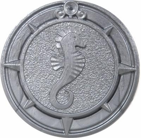 Playmobil LOOSE Accessory Large Silver Coin - Seahorse Design