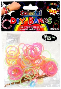 D.I.Y. Do it Yourself Bracelet Bands 100 Glow in the Dark Rainbow Rubber Bands with Hook Tool & Buckles