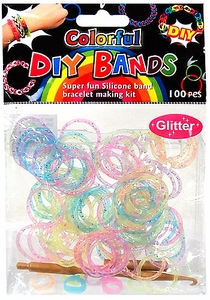 D.I.Y. Do it Yourself Bracelet Bands 100 Glitter Rainbow Rubber Bands with Hook Tool & Buckles Hot!