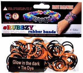 Undee Bandz Rubbzy 100 Halloween Glow in the Dark Black & Orange Tie-Dye Rubber Bands with Clips BLOWOUT SALE!