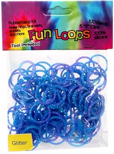 Fun Loops 100 Blue & Purple Tie Dye Glitter Rubber Bands with Hook Tool & 'S' Clips