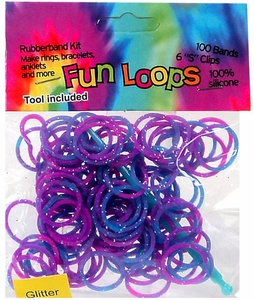 Fun Loops 100 Pink & Blue Tie Dye Glitter Rubber Bands with Hook Tool & 'S' Clips
