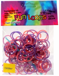 Fun Loops 100 Purple & Orange Tie Dye Glitter Rubber Bands with Hook Tool & 'S' Clips