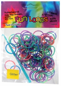Fun Loops 100 Rainbow Tie Dye Glitter Rubber Bands with Hook Tool & 'S' Clips