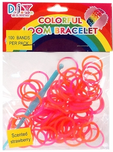 D.I.Y.  Colorful Loom Bracelet 100 Strawberry Scented Orange & Pink Rubber Bands with Hook Tool & 'S' Clips