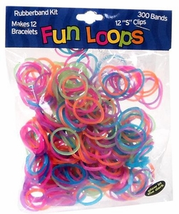 Fun Loops 300 Multi-Color Glow-in-the-Dark Rubber Bands with 'S' Clips