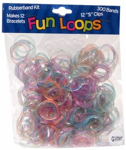 Fun Loops 300 Multi-Color Glitter Rubber Bands with 'S' Clips