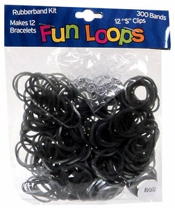 Fun Loops 300 Pewter Metallic Rubber Bands with 'S' Clips