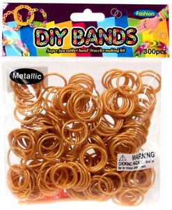 D.I.Y. Do it Yourself Bracelet Bands 300 Metallic Gold Rubber Bands with Hook Tool & Buckles