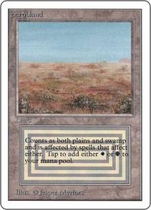 Magic the Gathering Unlimited Edition Single Card Rare Scrubland