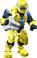 Halo Wars Mega Bloks LOOSE Mini Figure Covenant Yellow Elite Pilot with Energy Sword