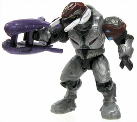 Halo Wars Mega Bloks LOOSE Mini Figure Articulated Covenant Silver Combat / Ascetic Elite with Carbine & Plasma Rifle