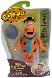 Hanna Barbera 6 Inch Action Figure Fred Flintstone with Bowling Action