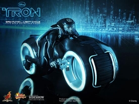 Tron Legacy Hot Toys Movie Masterpiece 1/6 Scale Collectible Figure Sam Flynn with Light Cycle