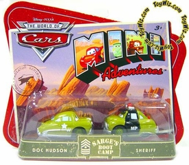DiDisney CARS Mini Adventures Sarge's Boot Camp Doc Hudson & MP Sheriff