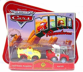 Disney CARS Mini Adventures Radiator Springs Fire Dept. Lightning McQueen & Mater