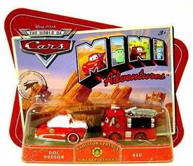 Disney CARS Mini Adventures Radiator Springs Fire Deptartment Doc Hudson & Red