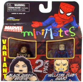 Marvel Minimates Series 34 Mini Figure 2-Pack Black Queen Selene & Hellfire Club Guard [Variant]