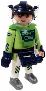 Playmobil LOOSE Mini Figure Male E-Ranger ZRT 02 in Green Top with White Pants, Helmet with Face Shield conected to Waist Unit [Light Flesh]