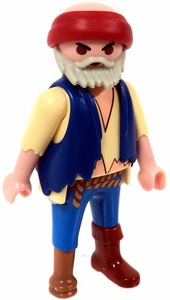 Playmobil LOOSE Mini Figure Male Pirate First Mate, Blue Vest & Pants, Yellow Shirt & Wooden Peg Leg [Tan Flesh]