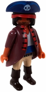 Playmobil LOOSE Mini Figure Male Pirate Captain in Blue Hat, Sand Red Coat, Tan Pants & Brown Boots [Tan Flesh]