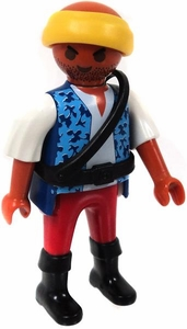 Playmobil LOOSE Mini Figure Male Pirate First Mate, Yellow Head Band, Blue Vest, Red Pants & Black Boots [Tan Flesh]