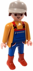 Playmobil LOOSE Mini Figure Male Farmer in Yellow Shirt & Blue Over-Alls
