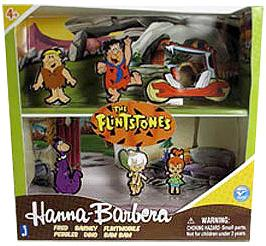 Hanna Barbera Flinstones 2 Inch Figure Collector 6-Pack [Fred, Dino, Barney, Pebbles, Bam Bam & Flinstones Car]