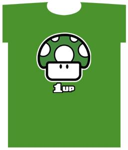Nintendo Super Mario Adult T-Shirt Green 1-Up Mushroom