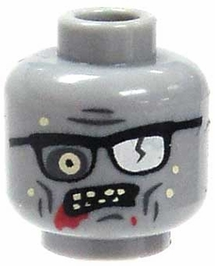 Citizen Brick Custom Printed LOOSE Head Zombie Head with Glasses & Bloody Mouth