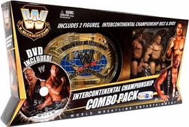 Mattel WWE Wrestling Exclusive Intercontinental Championship Combo Pack [Includes The Rock & Stone Cold Steve Austin Action Figures, Championship Belt & DVD]