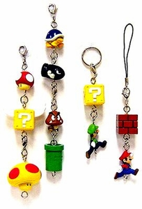 New Super Mario Brothers BanPresto Set of 11 Charm Keychain Phone Danglers