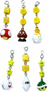 New Super Mario Brothers 6 Piece Tin Bell Charm Set [Super Mushroom, Blooper, Goomba, Boo, Koopa Shell & Lakitu]