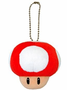 Super Mario Bros. San-Ei 4 Inch Plush KeychainSuper Mushroom [Red]