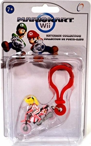 Mario Kart Wii Plastic Clip Keychain Princess on Motorcycle